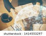 social network theme hologram... | Shutterstock . vector #1414553297