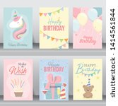 happy birthday card. greeting... | Shutterstock .eps vector #1414561844