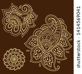 set of mehndi flower pattern... | Shutterstock .eps vector #1414569041