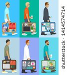 people with suitcase ... | Shutterstock .eps vector #1414574714