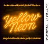 yellow neon script alphabet... | Shutterstock .eps vector #1414583744