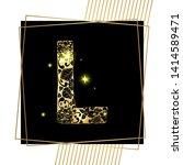 golden floral ornamental...   Shutterstock .eps vector #1414589471