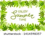 green tropical leaves frame for ... | Shutterstock .eps vector #1414598357