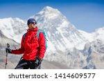 hiking in himalaya mountains.... | Shutterstock . vector #1414609577