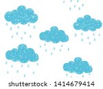 cute childish hand drawn blue... | Shutterstock .eps vector #1414679414