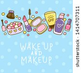 cute makeup border with... | Shutterstock .eps vector #1414707311