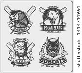 set of cricket emblems  badges  ... | Shutterstock .eps vector #1414714964
