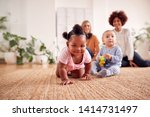two mothers meeting for play... | Shutterstock . vector #1414731497