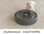 robot vacuum cleaner with a dog ... | Shutterstock . vector #1414745981