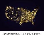 Usa Map Night Light Effect In...