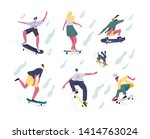 bundle of teenage boys and...   Shutterstock .eps vector #1414763024
