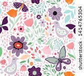 Stock vector floral decorative seamless pattern with butterflies and different flowers 1414765304