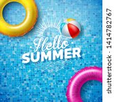 summer illustration with float... | Shutterstock .eps vector #1414782767