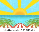 vacation postcard  vintage... | Shutterstock .eps vector #141481525