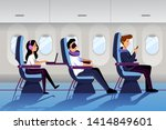 people travel by airplane in... | Shutterstock .eps vector #1414849601