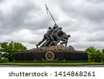 United States Marine Corp War memorial depicting flag planting on Iwo Jima in WWII in Arlington, Virginia, USA on 13 May 2019 - stock photo
