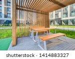 wooden arbor. modern wooden... | Shutterstock . vector #1414883327