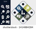 seek icon set. 13 filled seek... | Shutterstock .eps vector #1414884284