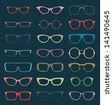 vector set  retro color glasses ... | Shutterstock .eps vector #141490645