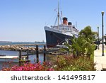 The Queen Mary Ship Moored In...