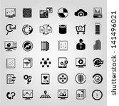 big data management icons set ... | Shutterstock .eps vector #141496021