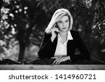 young business woman calling on ... | Shutterstock . vector #1414960721