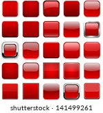 set of blank red square buttons ... | Shutterstock .eps vector #141499261