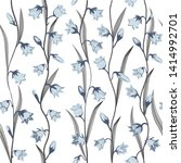 seamless blue flowers with... | Shutterstock .eps vector #1414992701