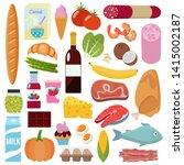 grocery set. milk  vegetables ... | Shutterstock .eps vector #1415002187