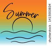 hello summer. lettering on hand ... | Shutterstock .eps vector #1415003834
