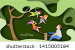 father with children swinging... | Shutterstock .eps vector #1415005184