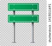 realistic green traffic sign on ... | Shutterstock .eps vector #1415011691