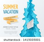 vector travel landscape with 3d ... | Shutterstock .eps vector #1415035001