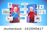 old aged family couple man  ... | Shutterstock .eps vector #1415040617