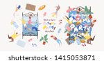 pajama party  objects for... | Shutterstock .eps vector #1415053871