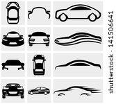 Car vector icon set on gray.