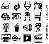 movie vector icon set on gray | Shutterstock .eps vector #141506695