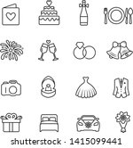 wedding icons thin line on... | Shutterstock .eps vector #1415099441