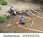 construction to remove sediment ...   Shutterstock . vector #1415131721