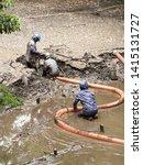 construction to remove sediment ...   Shutterstock . vector #1415131727