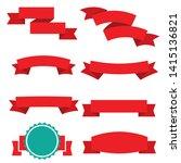 red elegant banner shapes...   Shutterstock . vector #1415136821