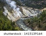 The scenic overlook of Calcite Springs looking over at the Yellowstone RIver.