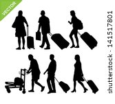 airport passengers silhouettes... | Shutterstock .eps vector #141517801