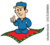 cartoon man riding a flying... | Shutterstock .eps vector #1415184884