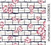 all over pink vector flowers...   Shutterstock .eps vector #1415208281