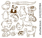 set of animals doodle isolated... | Shutterstock .eps vector #1415225984