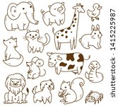 Stock vector set of animals doodle isolated on white background 1415225987