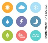 flat design style weather icons | Shutterstock .eps vector #141522661