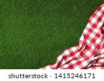 Picnic Tablecloth On Grass  Top ...