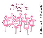 pink flamingos isolated on... | Shutterstock .eps vector #1415257091